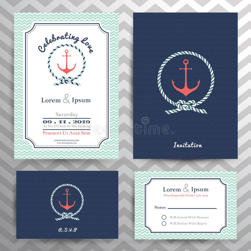 Nautical wedding invitation and RSVP card template set. In anchor and rope design element royalty free illustration