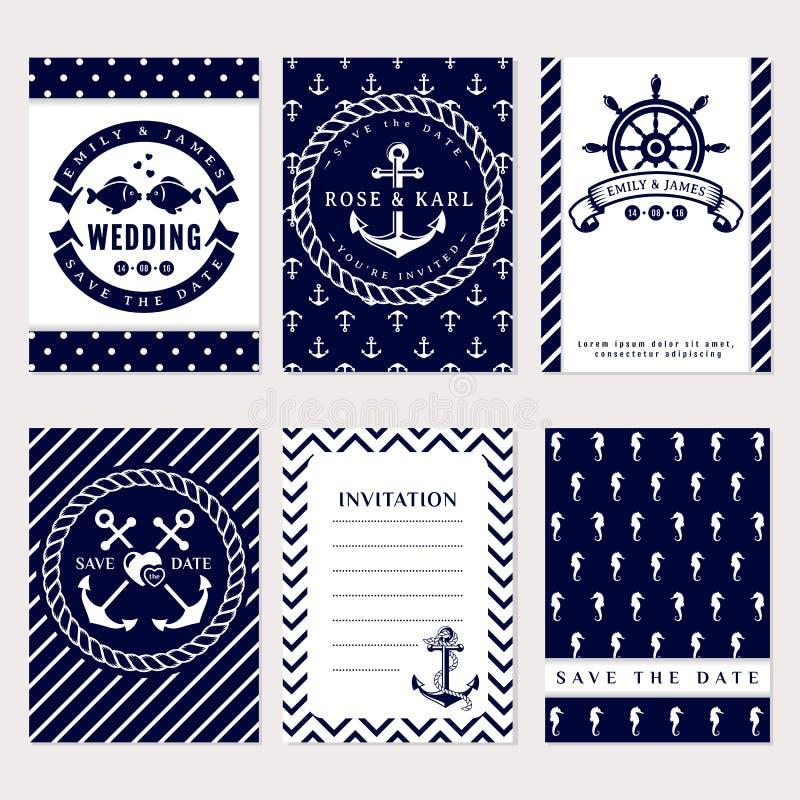 Nautical wedding invitations royalty free illustration