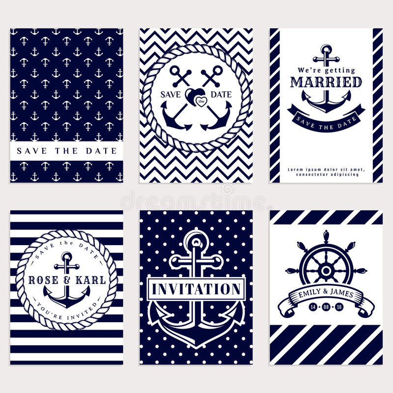 Elegant Nautical Decor: Nautical Wedding Invitations. Stock Vector
