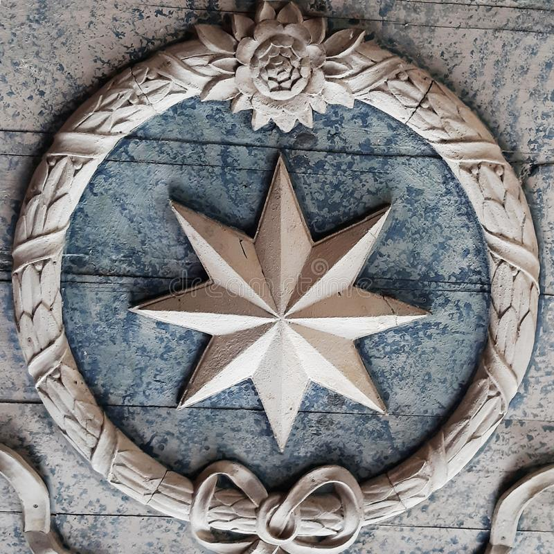 Nautical Wind Rose Star Church Ceiling stock photography
