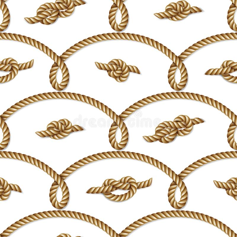 Nautical yellow rope woven, seamless pattern, background royalty free illustration