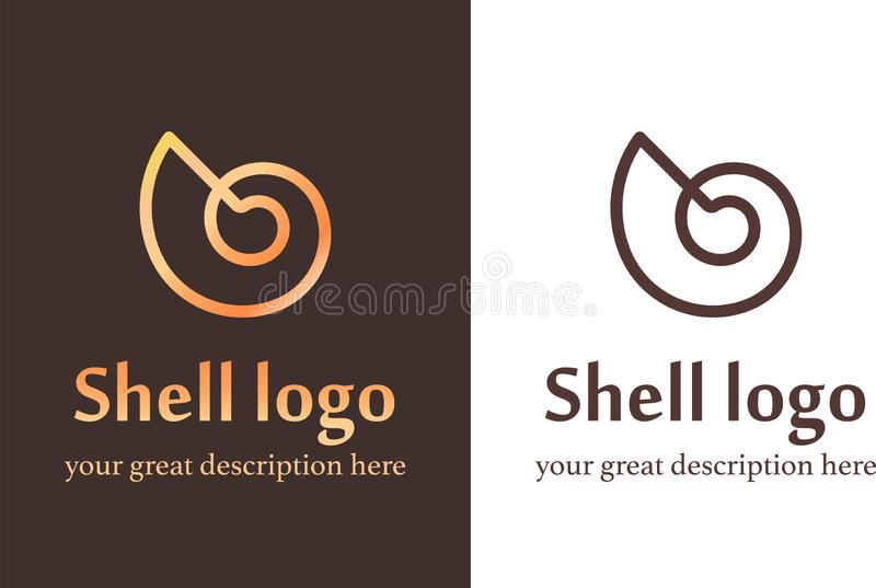Nautilus copy. Vector illustration with seashell nautilus. Object for your logo / card / flyer royalty free illustration