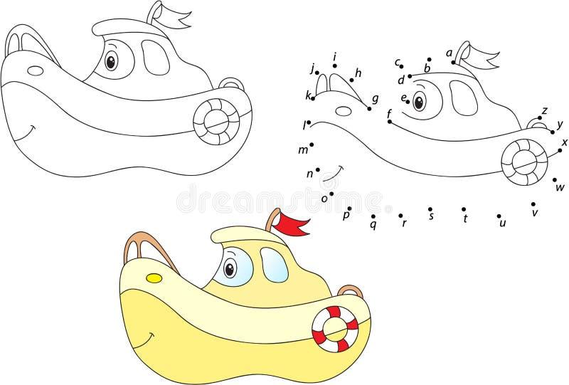 Nautilus de bande dessinée Illustration de vecteur Coloration et point pour pointiller g illustration libre de droits