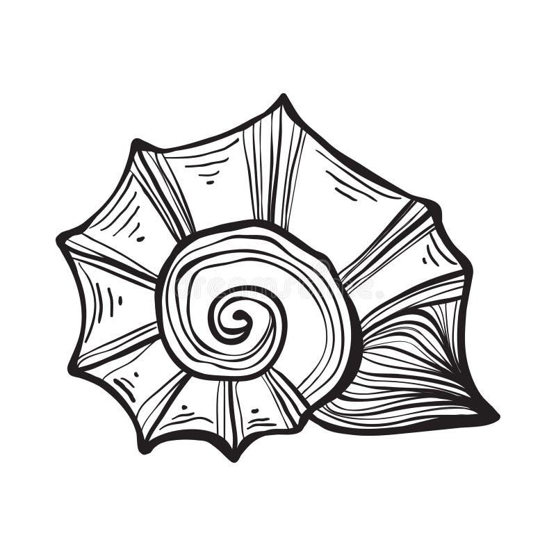 Nautilus de coquille de mer Illustration noire de vintage de gravure illustration de vecteur