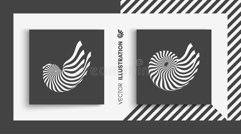 Nautilus Shell αφηρημένο στοιχείο σχεδί&om τρισδιάστατο διάνυσμα απ&e ελεύθερη απεικόνιση δικαιώματος