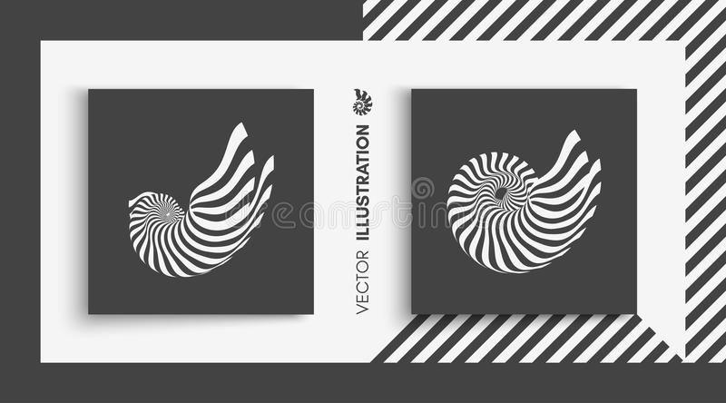 Nautilus Shell abstrakt designelement vektor för illustration 3d royaltyfri illustrationer