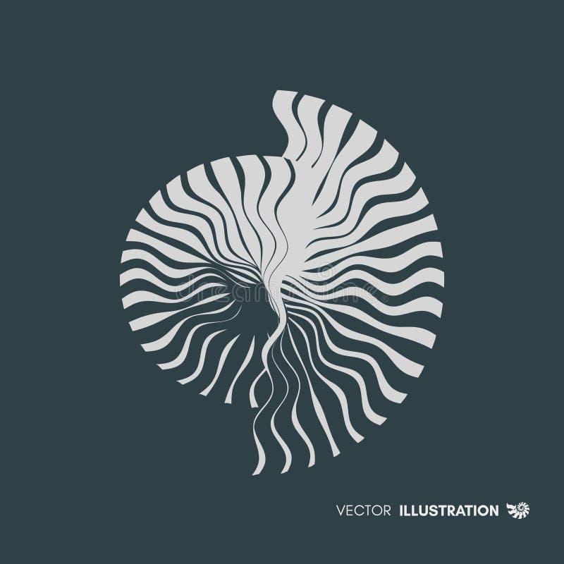 Nautilus Shell Het abstracte Element van het Ontwerp 3d vectorillustratie vector illustratie