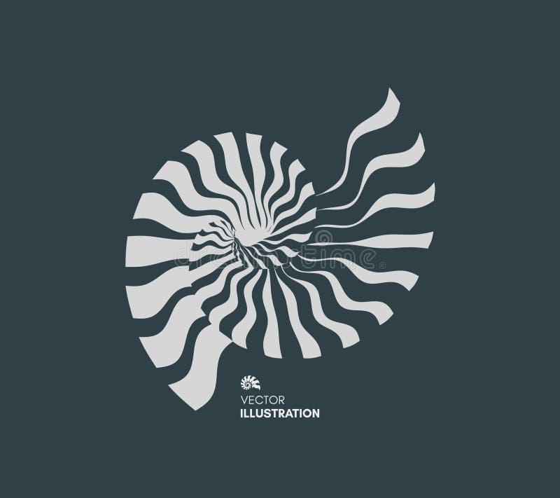 Nautilus Shell Het abstracte Element van het Ontwerp 3d vectorillustratie royalty-vrije illustratie