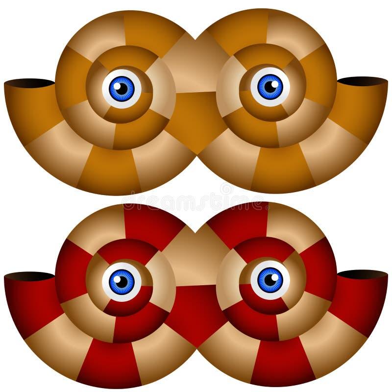 Nautilus-Shell-Schablonen-Set lizenzfreie abbildung
