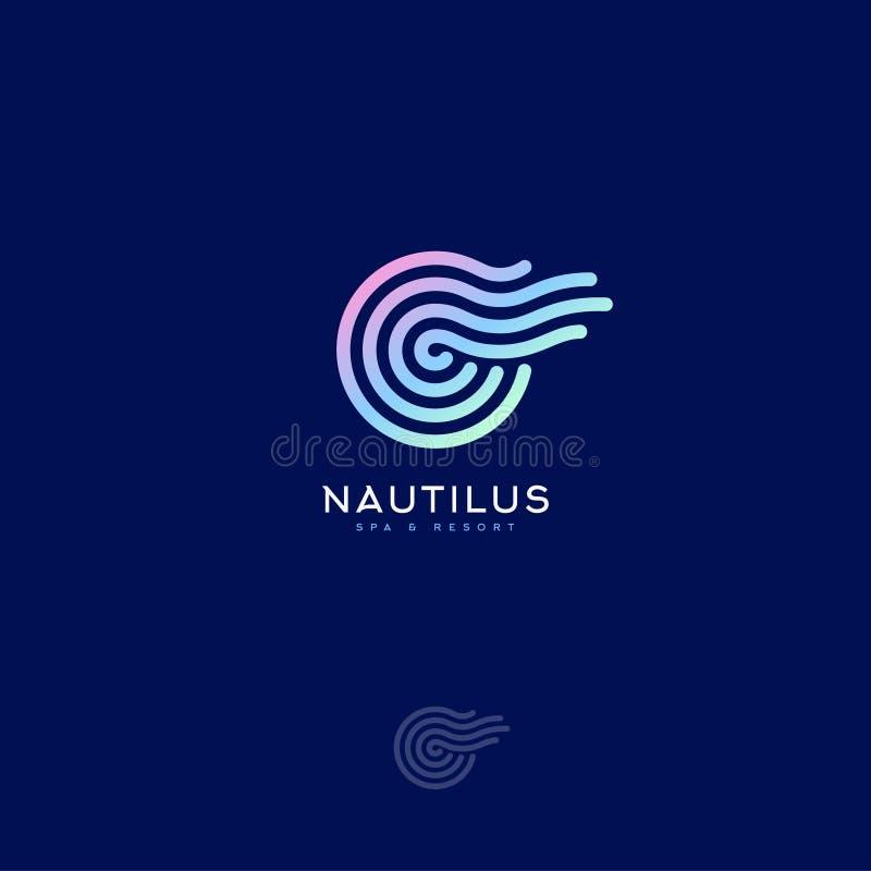Nautilus Spa embleem Decoratief element zoals spiraalvormige shell van Nautilus royalty-vrije illustratie