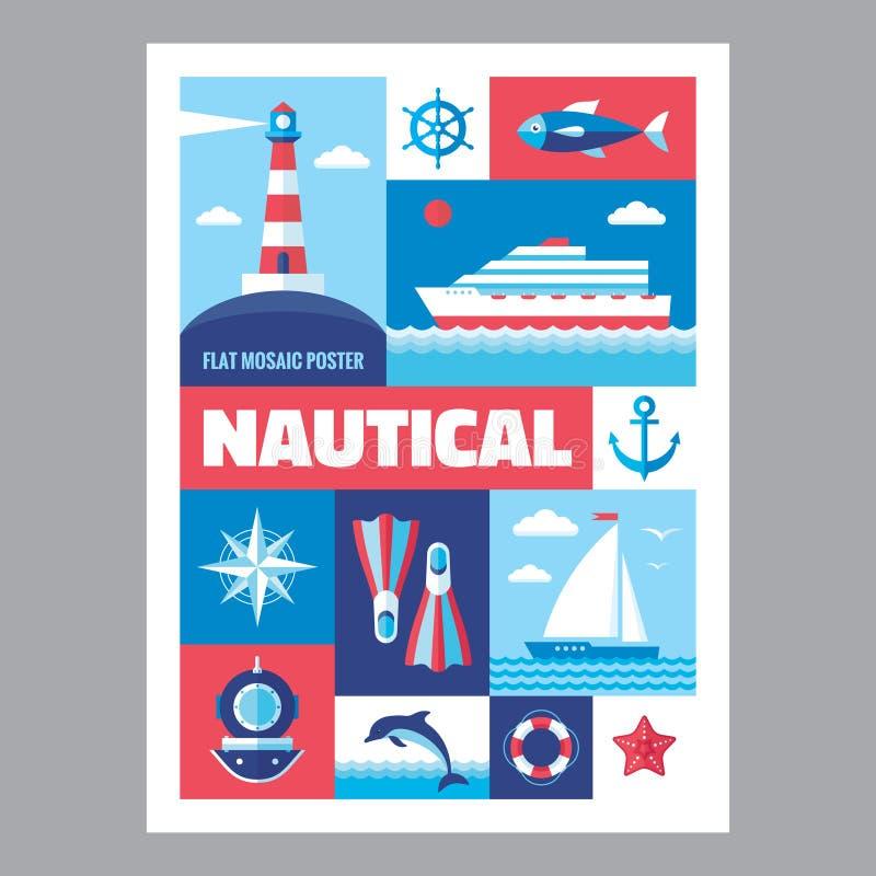 Nautisch - Mosaikplakat mit Ikonen in der flachen Designart Vektorikonen stellten ein lizenzfreie abbildung