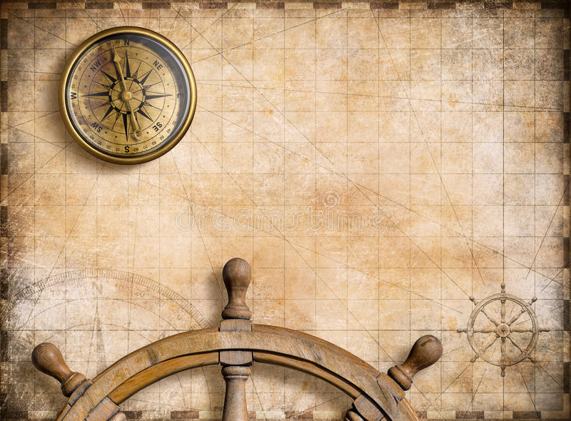 Nautisk översikt för tappning med illustrationen för kompassbakgrund 3d stock illustrationer