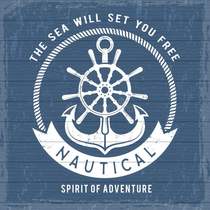 Nautisk ankaraffisch Symboler för havmarinamarin på fartyget eller skeppet för retro sjömanplakat Tappninghavet piratkopierar vek royaltyfri illustrationer