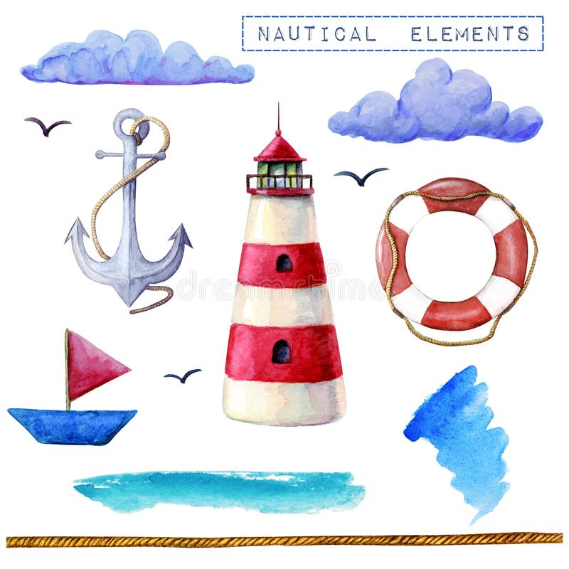 Nautisk best?ndsdelsamling f?r vattenf?rg Fyr skepp, livboj, ankarmoln som isoleras på den vita bakgrunden Moderiktiga beståndsde stock illustrationer