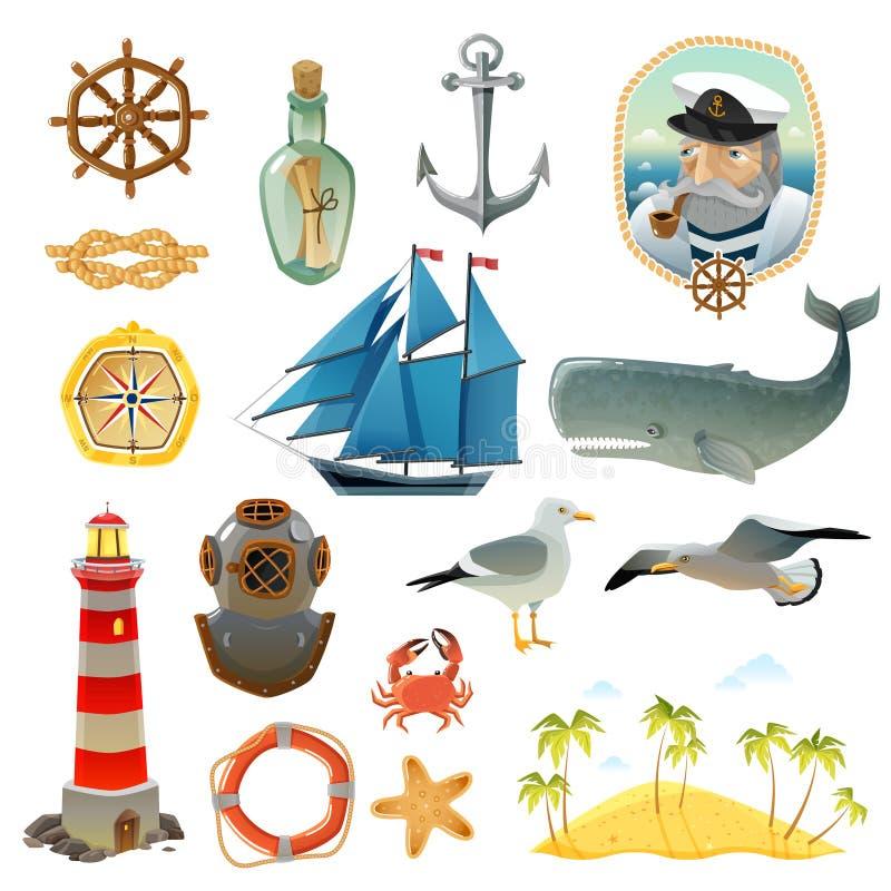 Nautisk dekorativ beståndsdeluppsättning för hav royaltyfri illustrationer