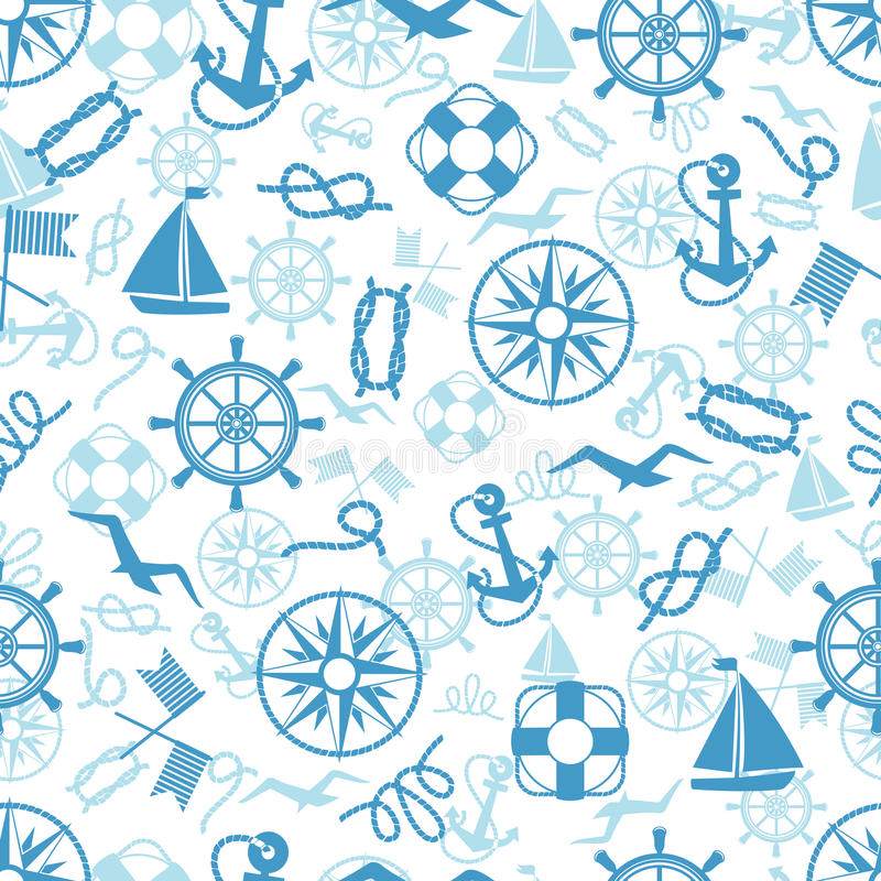 Nautisk eller marin- themed sömlös modell vektor illustrationer