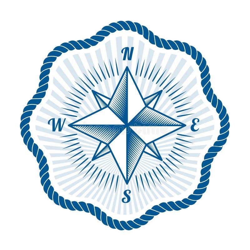 Nautisk etikett för vektor tappningkompass-, symbols- och designbeståndsdel stock illustrationer