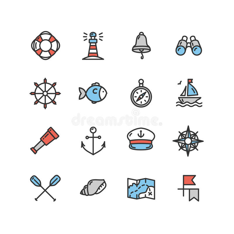 Nautisk havssymbolsuppsättning vektor royaltyfri illustrationer