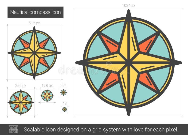 Nautisk kompasslinje symbol stock illustrationer