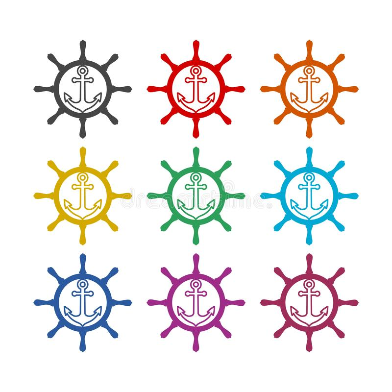 Nautisk logo eller symbol, färguppsättning vektor illustrationer
