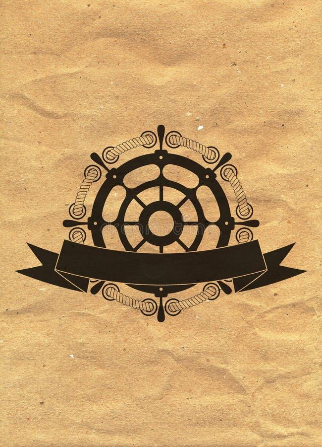Nautisk logo på bakgrund för kraft papper Marine Label havsemblem royaltyfri illustrationer