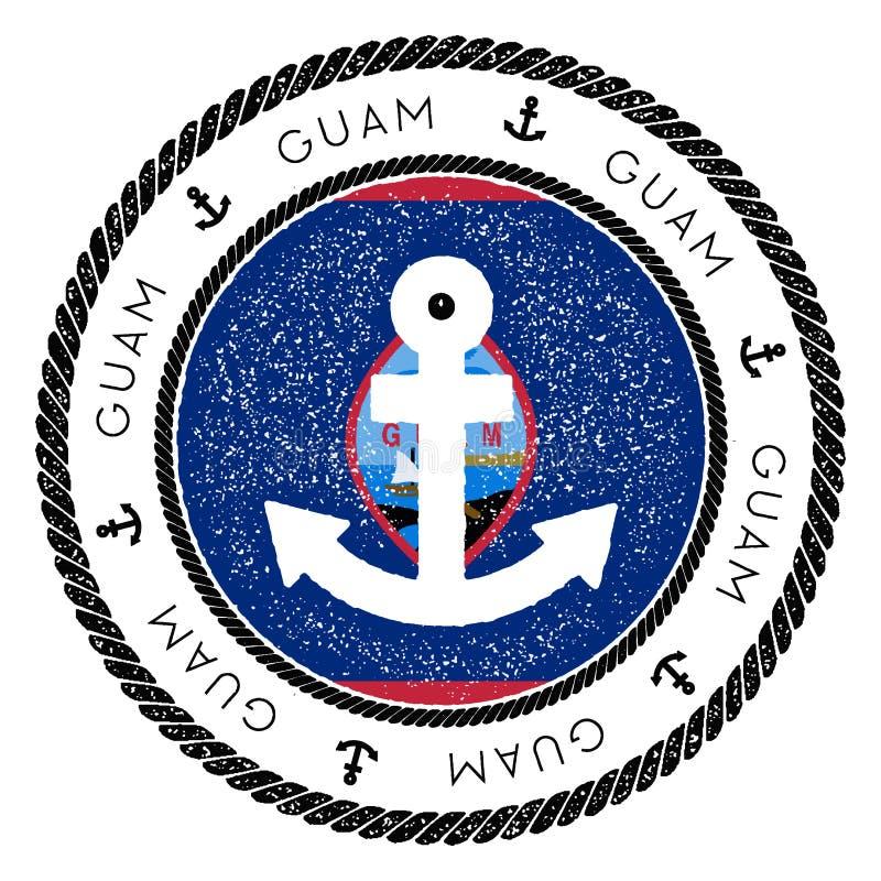 Nautisk loppstämpel med den Guam flaggan och ankaret stock illustrationer