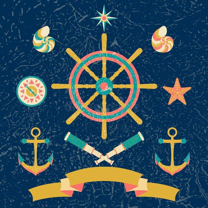 Nautisk marin- cirkelbarnaffisch Tecknad filmstil med grungeeffekter stock illustrationer