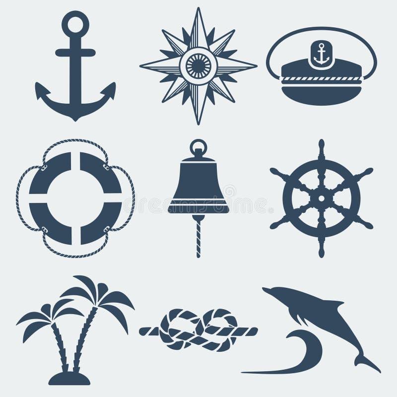 Nautisk marin- symbolsuppsättning vektor illustrationer