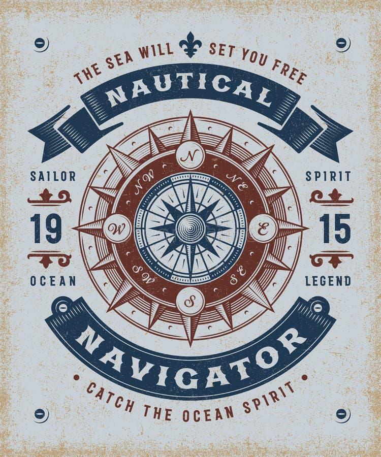 Nautisk navigatör Typography för tappning stock illustrationer