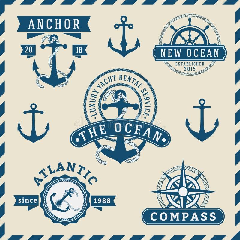 Nautisk, navigations-, sjöfarande och marin- gradbeteckninglogotyp vektor illustrationer