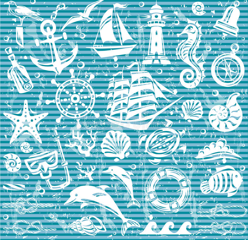 Nautisk och havssymbolsuppsättning vektor illustrationer
