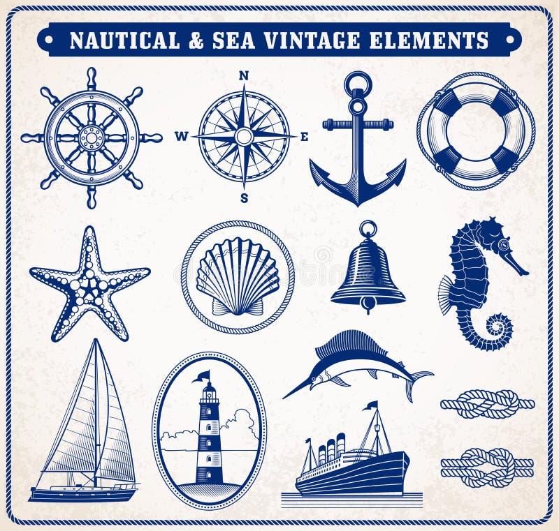 Nautisk och havstappningillustration stock illustrationer