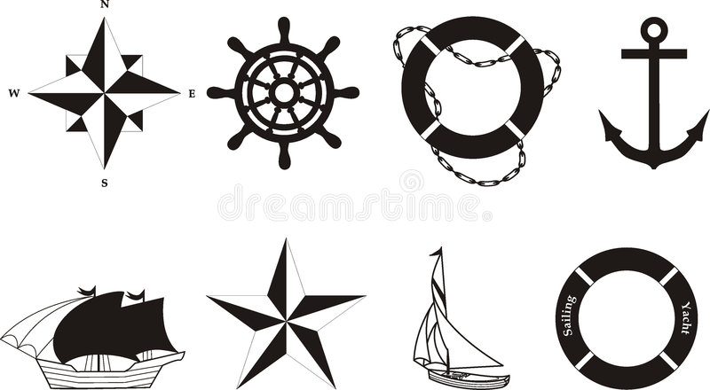 nautisk rasterized symbolvektor vektor illustrationer