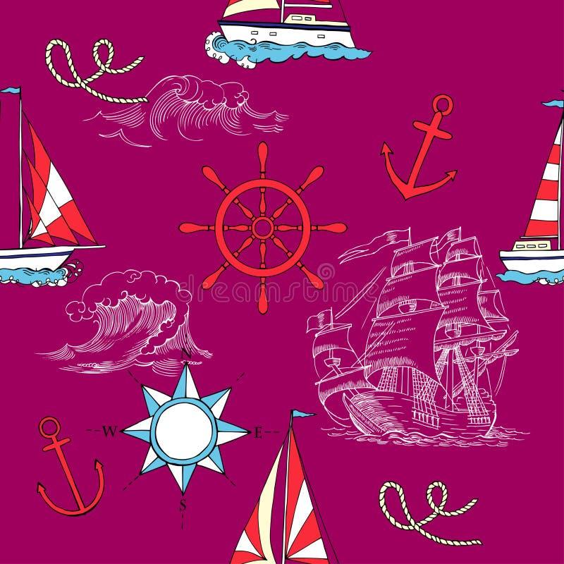 Nautisk sömlös modell med det seglingvesselsand och havet vektor illustrationer