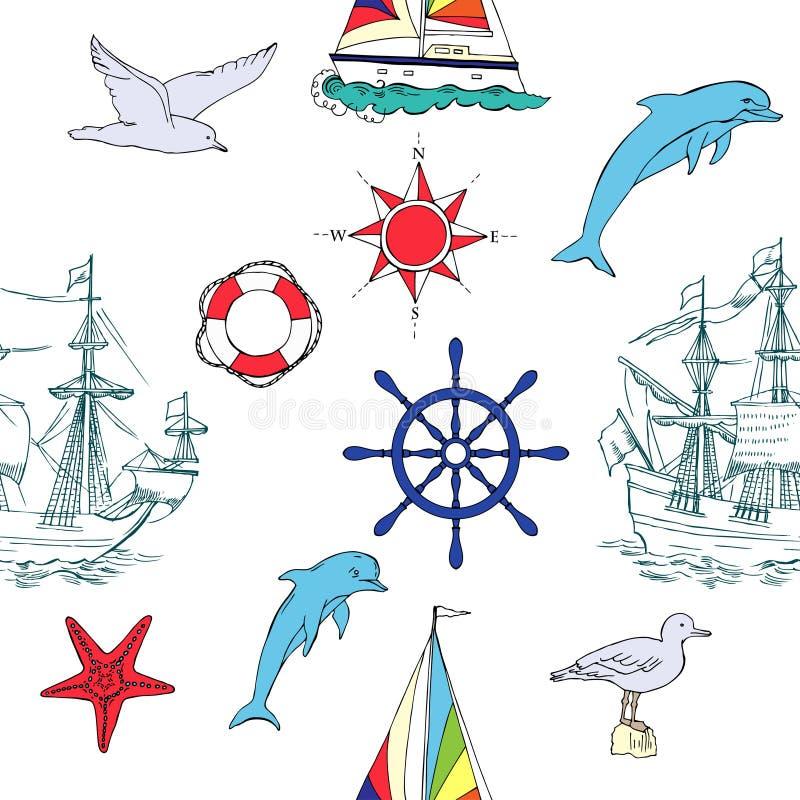 Nautisk sömlös modell med seglingskyttlar royaltyfri illustrationer