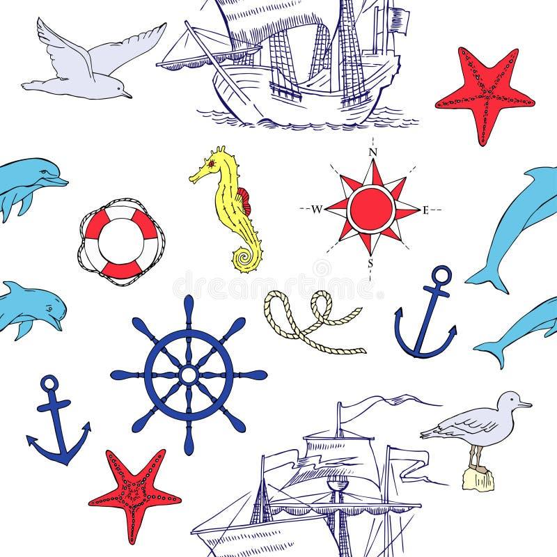 Nautisk sömlös modell med seglingskyttlar stock illustrationer