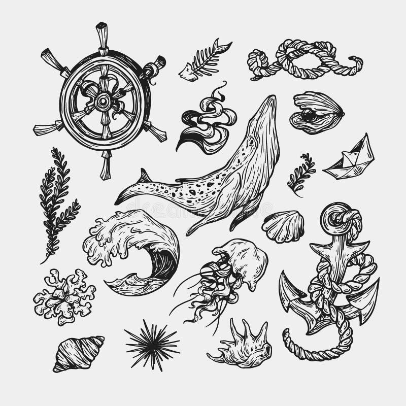 Nautisk samling Uppsättning stock illustrationer