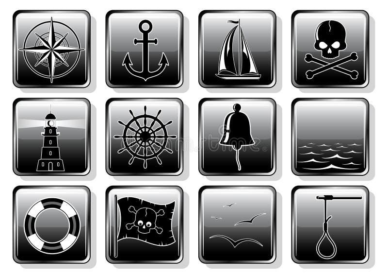 nautisk set för symboler vektor illustrationer