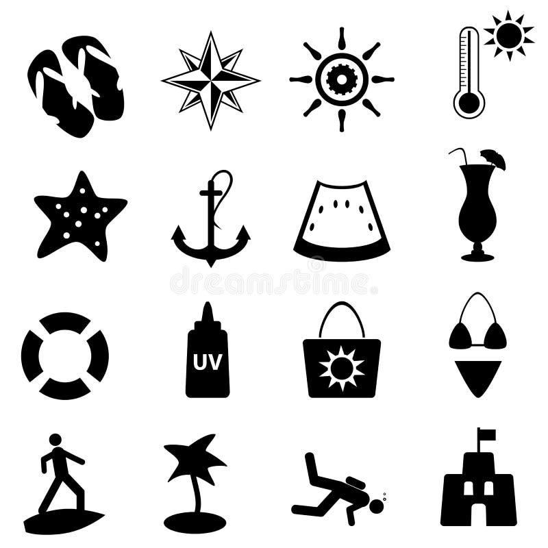 nautisk sommar för strandsymboler vektor illustrationer