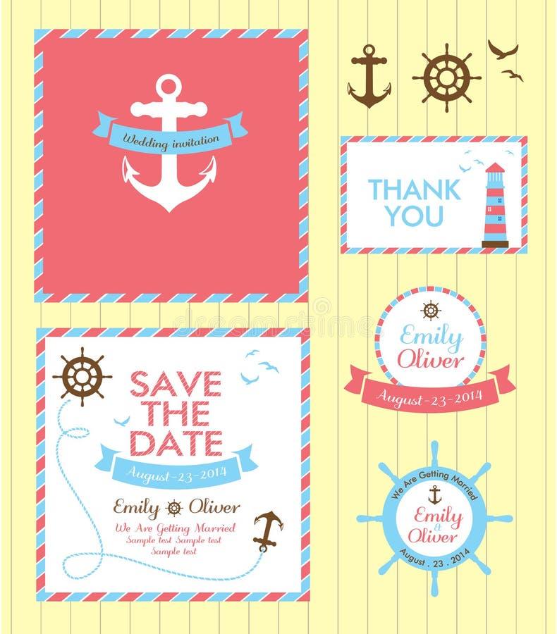 Nautisk stil för bröllopinbjudankort royaltyfri illustrationer