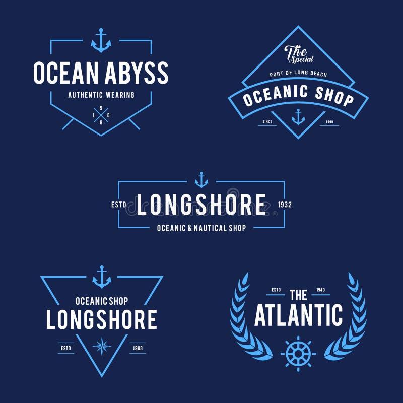 Nautisk tappning och havetikettemblem, Retro designbeståndsdel vektor illustrationer