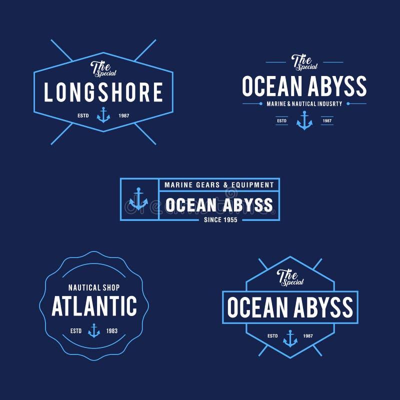 Nautisk tappning och havetikettemblem, Retro designbeståndsdel stock illustrationer