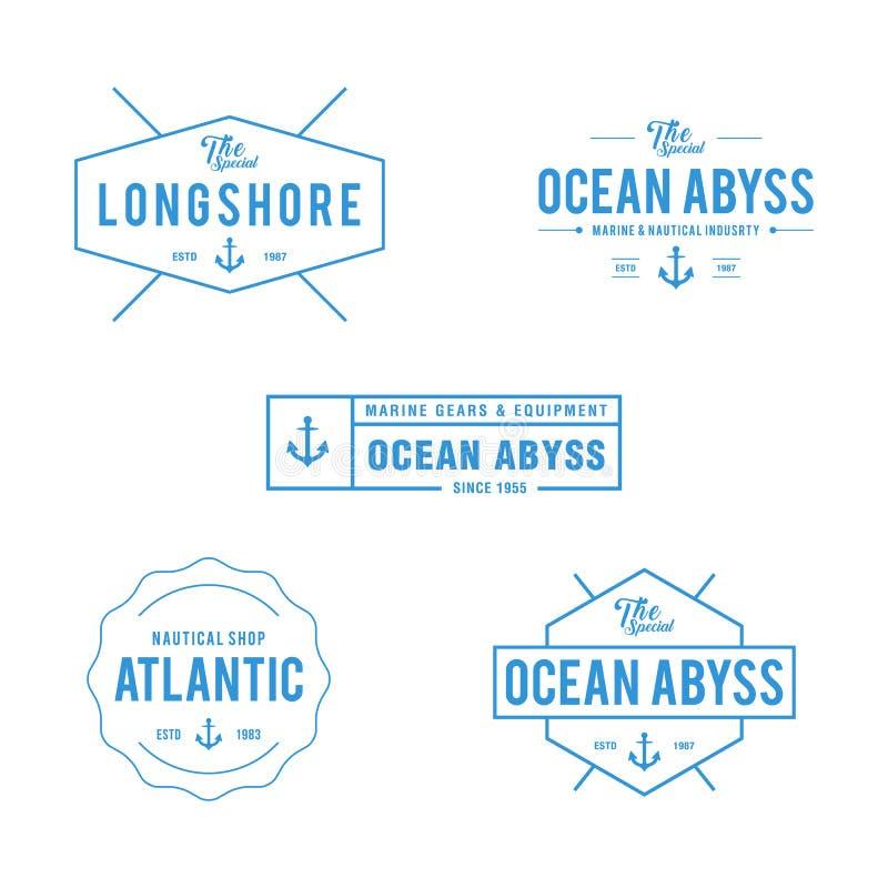 Nautisk tappning och havetikettemblem, Retro designbeståndsdel i vit bakgrund royaltyfri illustrationer