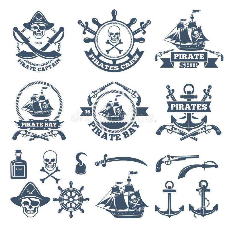 Nautisk tappning och piratkopierar etiketter Monokromma logoer av havet och seglingen royaltyfri illustrationer