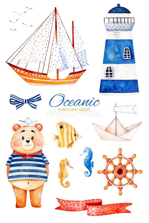 Nautisk vattenfärguppsättning royaltyfri illustrationer