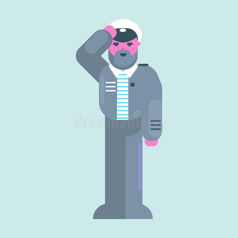Nautisk vektordesignsjöman för sjömandag Havskapten stock illustrationer