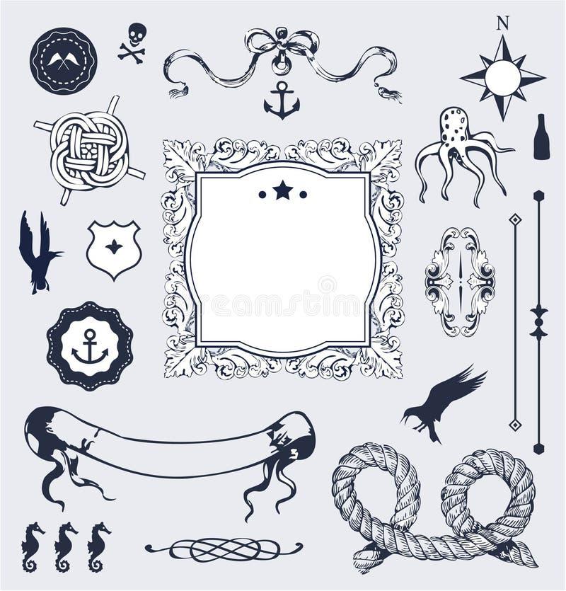 Nautisk vektorset med element för din design royaltyfri illustrationer