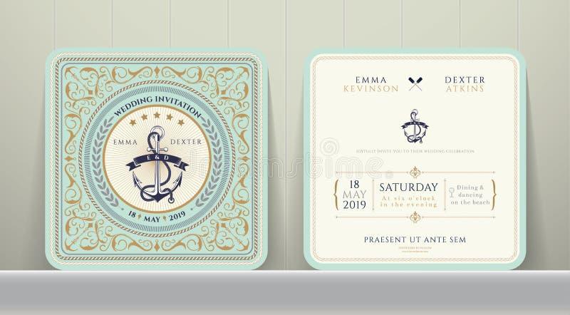 Nautiska ankaren för tappning som gifta sig inbjudankortet i klassisk stil royaltyfri illustrationer