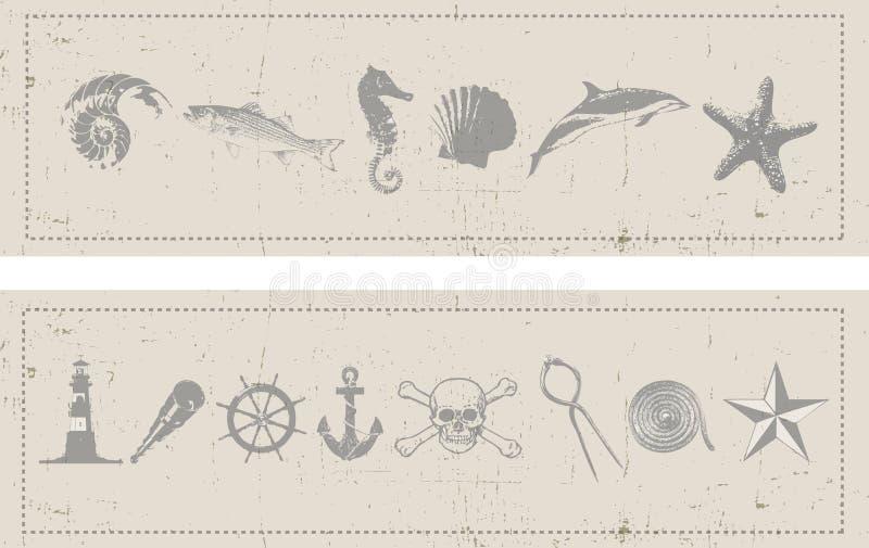 nautiska baner royaltyfri illustrationer