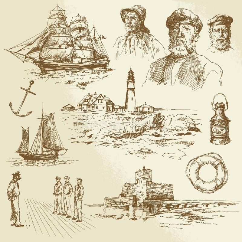 Nautiska beståndsdelar royaltyfri illustrationer